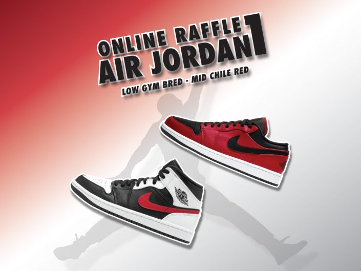 Online Raffle Air Jordan 1 Low Gym Bred & Mid Chile Red